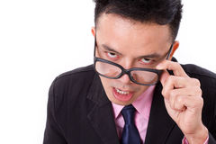 Angry businessman looking at you Stock Image