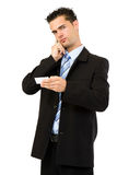 Angry businessman making a call Royalty Free Stock Images
