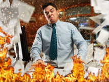 Angry businessman in the office Stock Photography