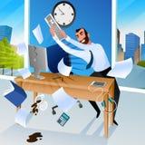 Businessman Goes Mad in Office Vector Illustration stock illustration