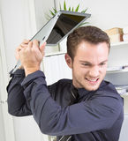 Angry Businessman with PC problems Stock Images