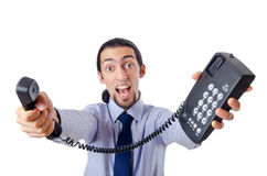 Angry businessman with phone Stock Photos