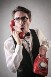Angry businessman at the phone Stock Photography