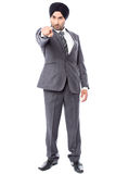 Angry businessman pointing towards you Royalty Free Stock Images