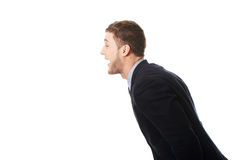 Angry businessman screaming. Royalty Free Stock Images