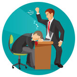 Angry businessman screaming at his worker. Man fall asleep. At working place. Student sleeps during lecture, professor tries wake him up. Male resting at table Royalty Free Stock Images