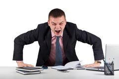 Angry businessman screaming isolated on white. Looking at camera. Office, finances, internet, business, success and people concept Stock Image