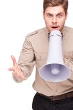Angry businessman screaming with loud-speaker Stock Images
