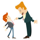 Angry businessman screaming and pointing on the manager . Flat s. Vector illustration Angry businessman screaming and pointing on the manager. Flat style Stock Photography