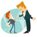 Angry businessman screaming and pointing on the manager . Flat s Royalty Free Stock Images