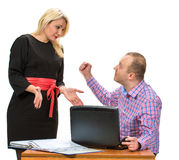Angry businessman shouting at his assistant. With an expressive look Royalty Free Stock Photography
