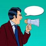 Angry Businessman Shouting in Megaphone. Pop Art Royalty Free Stock Photos