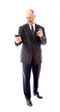 Angry businessman shouting on a mobile phone Royalty Free Stock Photos