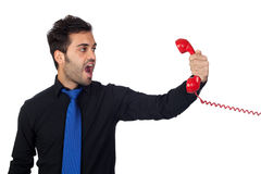 Angry Businessman shouting At Phone Royalty Free Stock Photos
