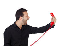 Angry Businessman shouting At Phone. Isolated On White Background Stock Photo