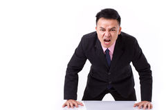 Angry businessman shouting, screaming, looking at you Royalty Free Stock Images