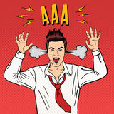 Angry Businessman Shouting with Steam Coming out of his Ears. Pop Art. Vector illustration Stock Image