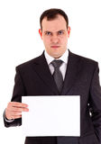 Angry businessman show paper Stock Photos