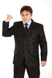 Angry businessman showing get out gesture Royalty Free Stock Image