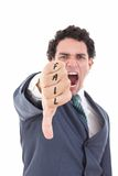 Angry businessman showing thumb down gesture as rejection symbol royalty free stock images