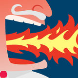 Angry businessman spitting fire. Close up of red face angry businessman spitting fire on dark blue background Stock Photography
