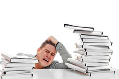Angry businessman with stack of papers.  on white backgr. Ound Stock Photo