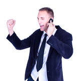Angry Businessman talking on a cellphone Royalty Free Stock Photography