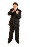 Angry  businessman threaten with fist isolated Royalty Free Stock Photos