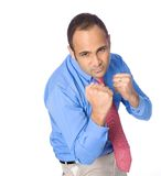 Angry Businessman With Fist Ready To Fight.