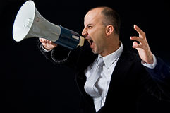 Angry businessman yelling Royalty Free Stock Images