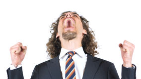 Angry Businessman yelling and screaming, Going Crazy royalty free stock images
