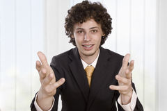 Angry businessmen explains Stock Photo
