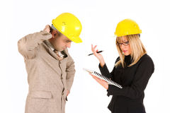 Angry businesswoman and architect Royalty Free Stock Image