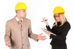 Angry businesswoman and architect Stock Photography