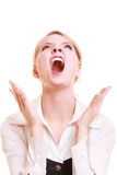 Angry businesswoman furious woman screaming Stock Photos