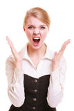 Angry businesswoman furious woman screaming Royalty Free Stock Image