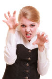 Angry businesswoman furious woman screaming. Negative emotions. Angry mad businesswoman crazy boss furious woman screaming isolated on white. Stress in business stock photo