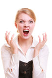 Angry businesswoman furious woman screaming. Negative emotions. Angry mad businesswoman crazy boss furious woman screaming isolated on white. Stress in business Royalty Free Stock Image