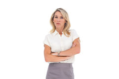 Angry businesswoman looking at the camera Royalty Free Stock Photos