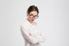 Angry businesswoman looking at camera Stock Photography