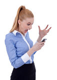 Angry businesswoman on mobile phone Stock Photos