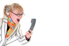 Angry businesswoman on phone Royalty Free Stock Image