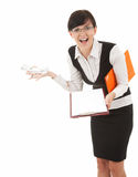 Angry businesswoman with phone, yelling Stock Photo