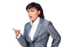 Angry businesswoman pointing Royalty Free Stock Images
