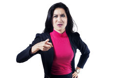 Angry businesswoman pointing at camera Royalty Free Stock Photography