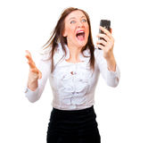 Angry businesswoman screaming Stock Photos