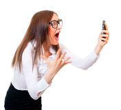 Angry businesswoman screaming Stock Photo