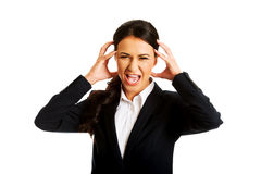 Angry businesswoman screaming Royalty Free Stock Photos