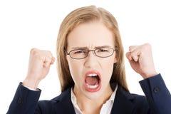 angry businesswoman shouting Στοκ Φωτογραφίες