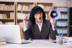 The angry businesswoman shouting with loudspeaker Stock Images